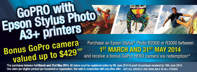 GoPRO with Epson Stylus Photo A3+ Printer Promotion